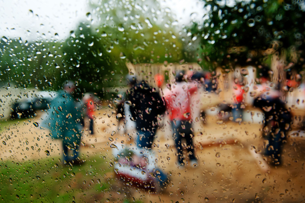 Despite rainy weather, about 150 volunteers worked together to put up framework for five houses at a Habitat for Humanity building site in a neighborhood behind Aberdeen Lake Park on Wednesday, April 15, 2015 in Aberdeen, North Carolina.