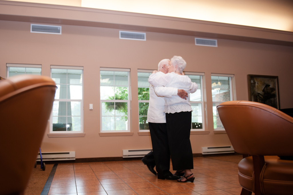 Dillard Colvin dances with Julia Reaves during the Senior Prom event at the Southern Pines Gracious Retirement Living community  on Thursday, May 28, 2015 in Southern Pines, North Carolina.