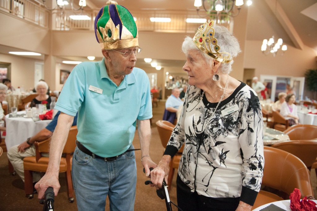 Resident Prom Kind Bill Valgas speaks with Resident Prom Queen Grace McDonald after they were announced during the Senior Prom event at the Southern Pines Gracious Retirement Living community  on Thursday, May 28, 2015 in Southern Pines, North Carolina.