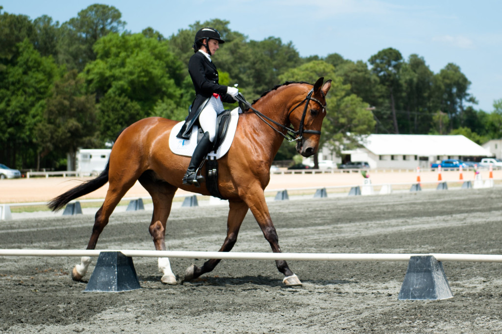 Briana Atwell rides Hrh Popstar in arena A during the Dressage in the Sandhills Horse Show at the Pinehurst Harness Track on Friday, May 8, 2015 in Pinehurst, North Carolina.