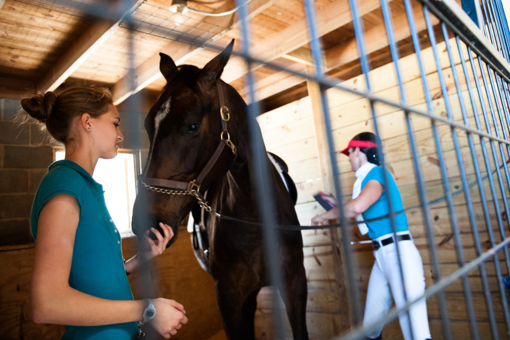 Fifteen-year-old Emily Crane pets Brio as Diane Ritz brushes him before leaving barn 11 for their scheduled riding time during the Dressage in the Sandhills Horse Show at the Pinehurst Harness Track on Friday, May 8, 2015 in Pinehurst, North Carolina.
