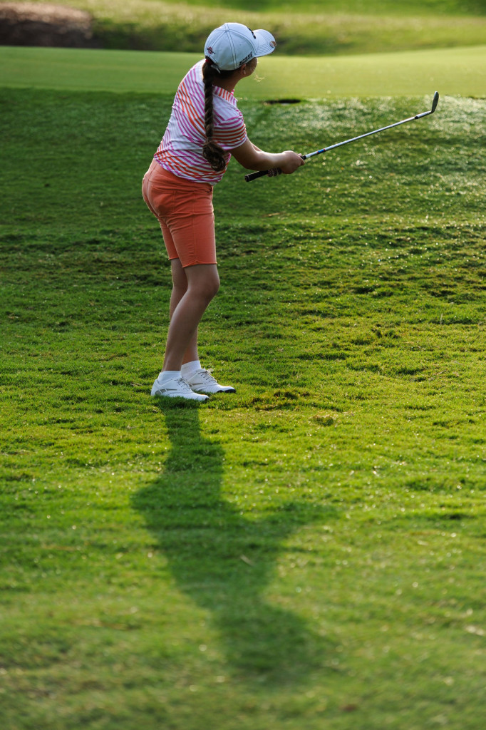 Jillian Parrino chips to the one green during the second round for the Girls 12 U.S. Kids Golf World Championship at Pinehurst No. 3 of the Pinehurst Country Club on Friday, July 31, 2015 in Pinehurst, North Carolina.