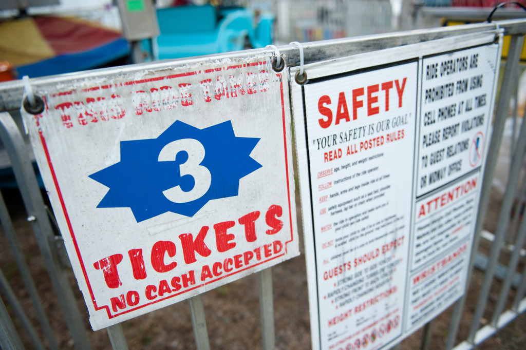 Many rides required at least three tickets per patron to ride at the Moore County Fair on Thursday, October 1, 2015 in Carthage, North Carolina.