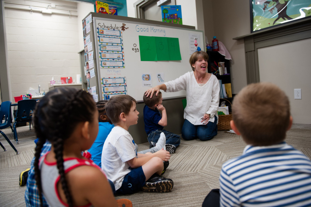 Teacher Julie Pitts speaks to her students as they sit in a circle at HOPE Academy, a recently opened pre-school, on Wednesday, September 16, 2015 in Robbins, North Carolina.