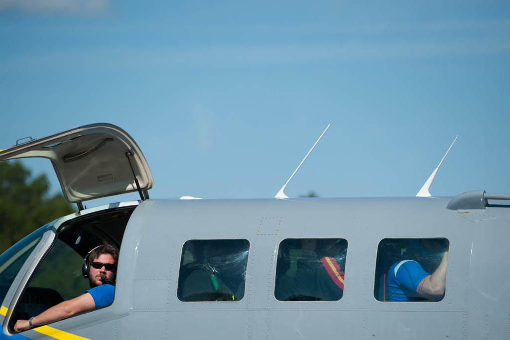 The plane pilot watches people board at the Raeford Drop Zone on Thursday, October 8, 2015 in Raeford, North Carolina.