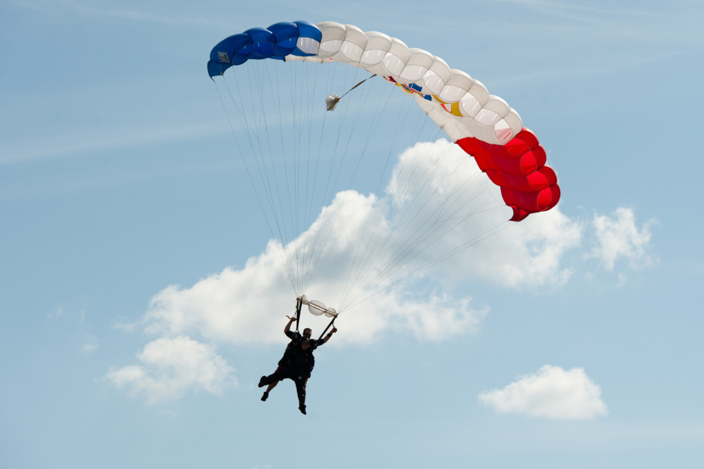 Beth Patterson Casilio and Robbie Rushton are seen in the sky at the Raeford Drop Zone on Thursday, October 8, 2015 in Raeford, North Carolina.