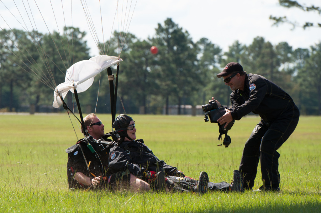 Beth Patterson Casilio and Robbie Rushton land at the Raeford Drop Zone on Thursday, October 8, 2015 in Raeford, North Carolina.