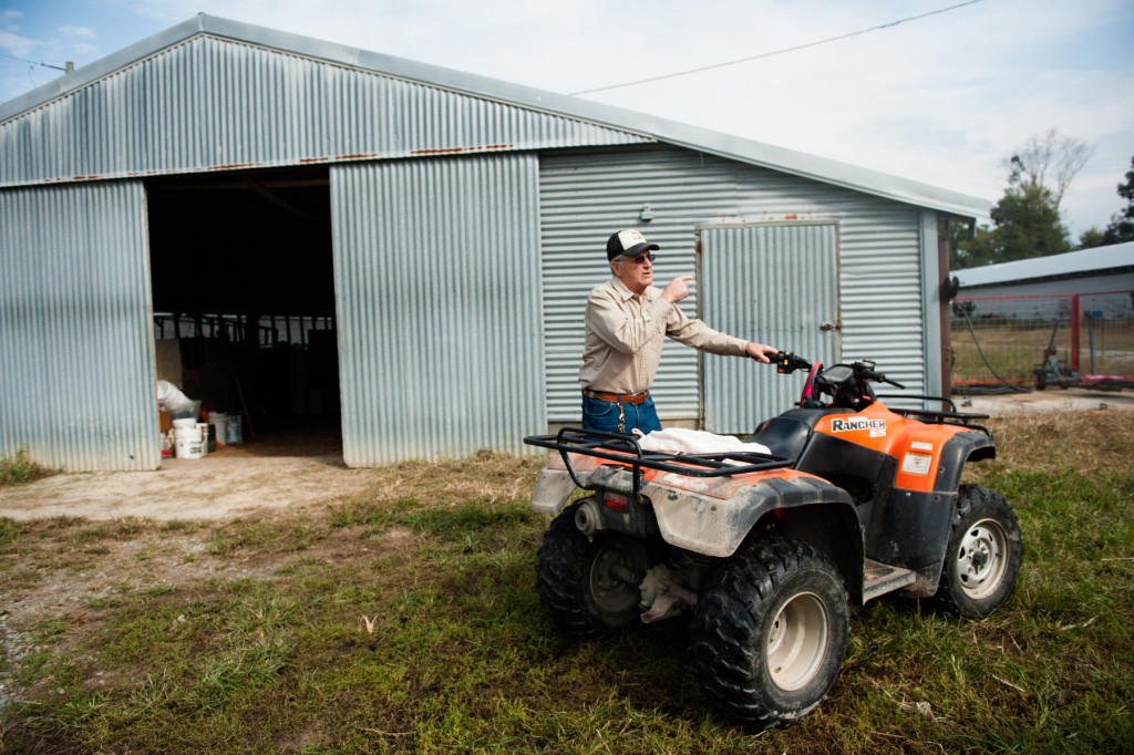 Jackie Bean parks his ATV at the entrance to one of his barns at D and J Goat Farms on Friday, October 16, 2015 near Robbins, North Carolina. Jackie Bean and his son Derek Bean have been raising livestock for years, specializing in goats for almost a decade. The farms produce commercial stock, breeding stock and show stock Boer goats.