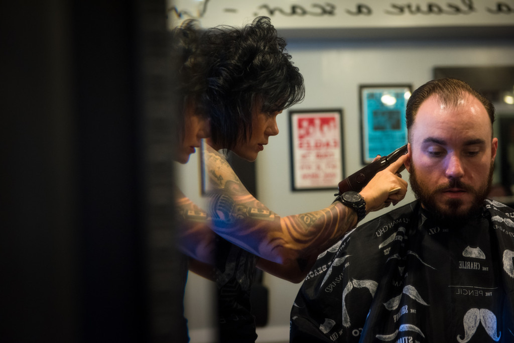 Jenny Moree works with client Davis Smith at Jenny Moree Salon off Pennsylvania Avenue on Friday, November 20, 2015 in Southern Pines, North Carolina.