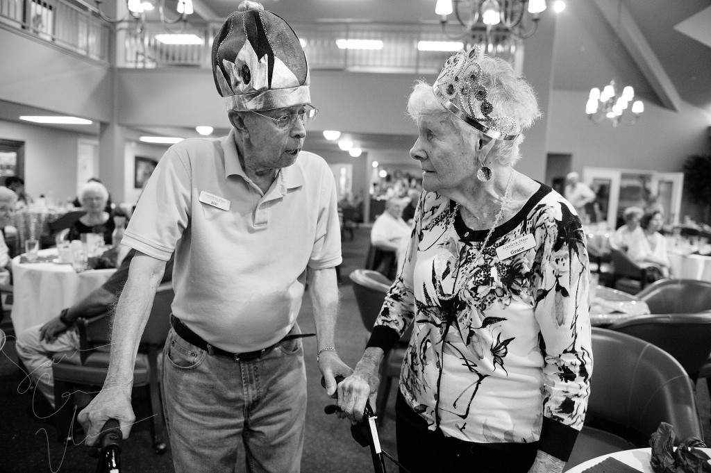 Resident Prom King Bill Valgas speaks with Resident Prom Queen Grace McDonald after they were announced during the Senior Prom event at the Southern Pines Gracious Retirement Living community on Thursday, May 28, 2015 in Southern Pines, North Carolina.