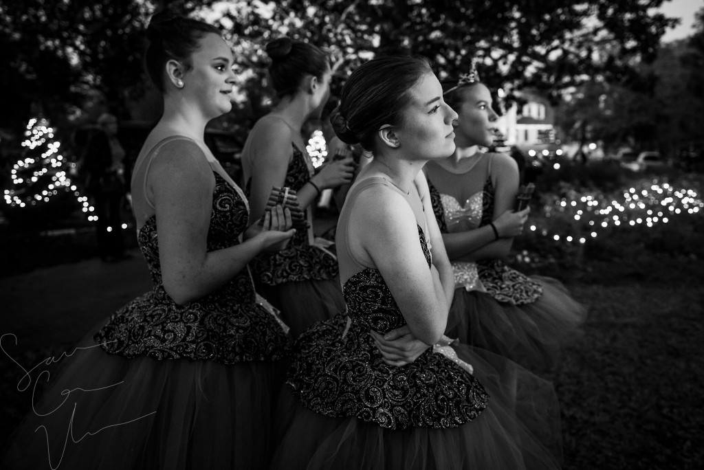 Ballerinas with Terpsichore Dance Studio shiver together as they wait to perform during the Pinehurst Christmas Tree Lighting event, which took place at the Village Lawn in downtown Pinehurst on Friday, December 4, 2015 in Pinehurst, North Carolina.
